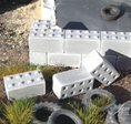 concrete blocs with nubs
